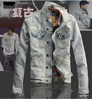 acid wash vintage denim jacket - 2016 New Spring Mens Denim Jacket Coat Ripped Distressed Acid Washed Casual Jackets Vintage Jeans Jacket veste jeans homme