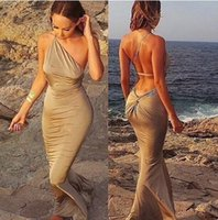 Cheap Women Halter Strapless wrapped package hip Maxi Dresses Sexy Ladies Slim Mermaid Evening Prom Party Beach Dress Swimwear for Women Clothes