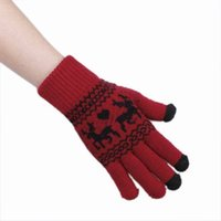 Wholesale 10pairs Purplish Red Knitting Cotton Cute Deer Unisex Touch Screen Warm Gloves Mittens DLU2