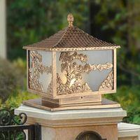 art pine - Midu European Royal Greeting Pine Relief Alloy amp Glass Bronze Pillar Lamp Art Craft Hand Engraved Light For Outdoor Yard