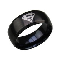 Cheap Superhero Rings Golden Sliver black Stainless steel Ring Simple Men Ring Superman Finger Rings Fashion Men Jewelry 3 Colors Free Shipping