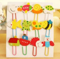 Wholesale Wood painted cute animal cartoon clip bookmarks office school filing supplies paper clip