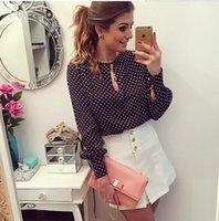 Cheap 6039 Plus Size S-3XL Blusas Femininas Blusa De Renda Polka Dots Blouse Long Sleeve Vintage Women Blouse