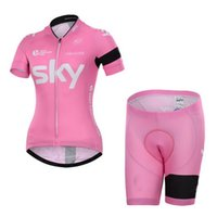 pink jersey - WOMEN CYCLING JERSEY SHORTS BIKE SETS CLOTHES SKY PRO TEAM PINK SIZE S XL