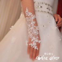 Wholesale 2015 Gloves Fingerless Below Elbow Length Applique Beads Wedding Gloves Women Fashion Style Bridal Accessories