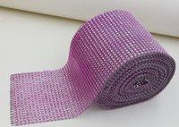 Wholesale Hot Sales Row DIAMOND light Purple MESH WRAP SPARKLE RHINESTONE Platinum Ribbon Yards a0666
