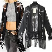 Cheap 2015 new fashion women's tassel shirt ladies kimono cardigan skull print European punk style casual loose tops clothes A986