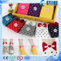 women socks - Cotton Socks Multi Candy Color Women s Gir s Cute Sock Three dimensional Bow Polka Dot Ankle Socks wu