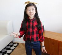 Wholesale Free DHL Girls shirt new spring wild long sleeved plaid casual shirts for children