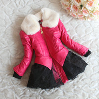 Wholesale Baby Kids Girls Fur Collar Leather Jackets Outwears with Embroid Lace and Leopard Lining Ruffled Zipper Design Winter Princess Warm Coats