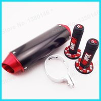 Wholesale Red CNC Exhaust Muffler Hand Grips For cc CRF50 Thumpstar SSR Pit Dirt Bike MX Motocross order lt no track