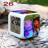 Wholesale 300pcs Home Oh Boov LED Color Changable Thermometer Calendar Digital Alarm Clock Home Oh Boov Action Figure Anime Decorative Clock