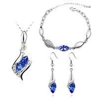 Cheap Fashion Jewelry 18K Gold Plated Jewelry Angel Wizard SWAROVSKI crystal Necklace Bracelet Earrings Set