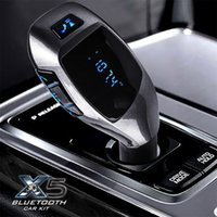 Wholesale 2015 New Bluetooth Handsfree FM Transmitter X5 Car Kit MP3 Music Player Radio modulator Adapter Work with TF Card For Smartphone