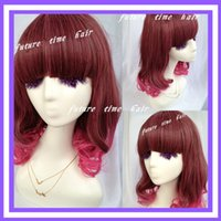 Cheap Assorted Color Curly Wavy Human Hair Wigs,New Charming Two Tone Ombre Japan Anime Cosplay Periwigs,Mixed Color Costume Hairwig