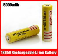 al por mayor láser de color amarillo envío libre-Amarillo UltraFire 18650 3.7V 5000mAh recargable de iones de litio para la linterna LED, la pluma del laser del envío libre