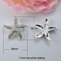 Wholesale J0452 mm inner bar metal rhinestone buckle outer size mm diameter starfish shape silver or gold plating
