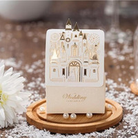 Wholesale Lovely Ivory Laser Cut Castle Wedding Favors and Gift Box Bridal Shower Chocolate Candy Box Wedding Decorations