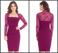 bengaline dress - Lace Long Sleeved Midi Mother Of The Bride Groom Dresses KR Magenta Sheath Square Formal Pencil Bengaline Dress Evening Gowns