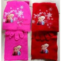 Wholesale Spider man Frozen Sofia Pricess Cars Girls Boys Kids Hat Scarf Gloves Knitting set for Children Gift C022