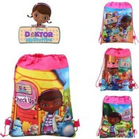 Wholesale lastest fashion kid favorite DOC mcstuffins carttoon mix Hans non woven string backpack pouch for kids children s gift school bag