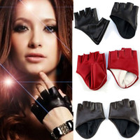 Wholesale New Fashion Half Finger Lady Leather Gloves Lady Fingerless Driving Show Gloves Just for you