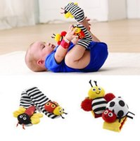 bee wristbands - DHL New arrival sozzy Wrist rattle foot finder Baby toys Garden Bug Bee Baby Rattle Socks Lamaze Baby Rattle Socks and wristbands