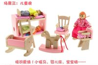 wooden kitchen sets toy - New Children Wooden Toys Wooden Kitchen Room Bathroom Living rooms Playing Set Kids Birthday Gift