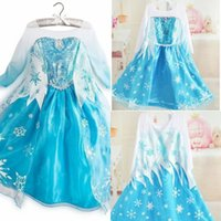 Wholesale Hot Sale Frozen Princess Dress Blue Elsa Dresses Wape Girls New Fashion Frozen Cosplay Dresses Costume Girls Pageant Dresses