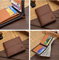 bifold business cards - New four colors Cross Vertical section Men s Wallet Fine Bifold PU Leather Money Purse Wallet For Men