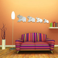 arts home prices - Best Promotion DIY D Mirror Four Cute Elephants Wall Stickers Home Decor Art Decal Acrylic Lowest Price
