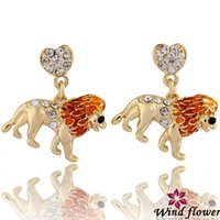 Wholesale 2014 Newest Lion Adornment Crystal Earrings Top Personality Design Vocation Gift Earrings Women High Qultiy Multi Material Rhinestone