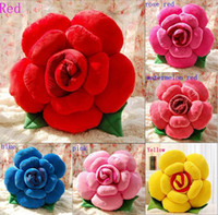 Wholesale Lovely cm Plush Rose Throw Pillow Stuffed Rose Flower Home Decoration Soft Lovers Cushion Valentine s Day Gift