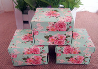 Wholesale 50pcs full flower square wedding favor gift box in green candy holder