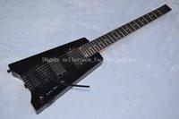 Wholesale OEM Factory HOT Custom Shop Black hardware Headless String black Electric Guitar