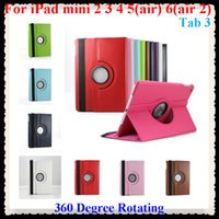 Wholesale 360 Degree Rotating Stand flip faux Leather Case Cover For iPad mini Air ipad6 cases for apple tablet PC tab