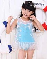 Wholesale Frozen Princess Kids Swimwear Girls Swiming Clothing Sleeveless Lace Shirt Swim Trousers Swimming Hat Kids Swimwear L0464