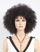 afro wigs - 16 inches Beautiful Long Afro curly Hairstyle Capless Synthetic Hair Wig