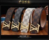 Wholesale Fashion leather belts for men Business Jeans casual Alloy Automatic Buckle black white brown waist strap belt brand good quality L belt