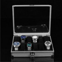 aluminium crystals - 1pcs12 Grid Watches Box Display Storage Slots Jewelry Square Box Case Aluminium Watch Box watch collection box