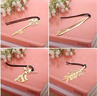 metal bookmark - South Korea stationery creativity mini cannes gold plated palm leaf golden key hollow metal bookmarks