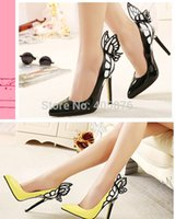 Wholesale Europe and the United States vampire diaries female butterfly wings pointed high heeled shoes black yellow top size