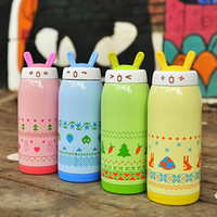 Wholesale Thermos Cup Cartoon Picture Pattern Thermo cups drinkware Travel water bottle Stainless Steel Thermoes flask for rabbit Lovely