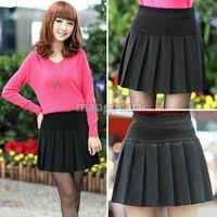 high school uniforms - 2014 New Women Vintage Winter Wool Mini Skirt School uniform Skirt Pleated short High Waisted Skirt Black Gray b4 SV004966