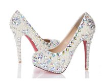 Wholesale Best Sparkling Wedding Shoes Pearls Rhinestone Bridal Shoes Beads Decoration High Heel Party Prom Women Shoe