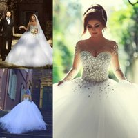 bling wedding dress - Said Mhamad spring bling bling white sheer long sleeves crystals wedding dresses ball gowns pearls see through wedding gowns plus size