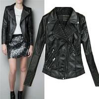 Wholesale Leather Jackets for Women Women Clothes Women Fashion Slim Biker Motorcycle PU Soft Leather Zipper Jacket Coat Leather Jacket Women