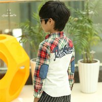 Others armbands for shirts - New Fashion Children s Shirt Long Sleeved plaid Patchwork Cotton Boys Undergarments Armband Blouses colors for y