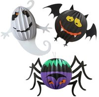 bat houses - Halloween haunted house decorated lantern bar decoration Luminous spider bats ghost pumpkin paper lantern hot selling