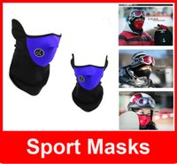 Wholesale Neoprene Winter Neck Warm Face Mask Veil Sport Motorcycle Ski Bike Biker Sport Masks Adult Beanie Hats Cap Half Face Ski Mask